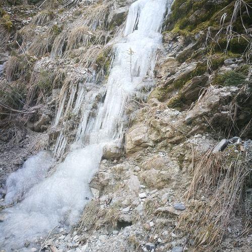 kalt Gefroren Kalt Eiszapfen Wasserfall High Angle View Day