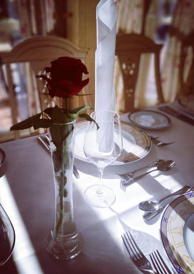 A meal without wine, is like a day without sun.. ☀ Cuttlery Wineglass Plate No People Flower Table And Chairs Sun Light And Shadow Close-up Indoors  Day Sunlight Selective Focus