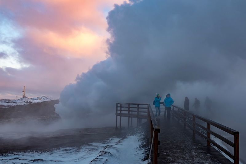 Reykjanes Travel Fujifilm X-pro2 Fujifilm_xseries Fujifilm Eruption Geysir Iceland Geysir Hot Springs Geysir Steam Heisse Quellen Island Iceland Gunna Reykjanes Geopark Reykjanes Weather Winter Cold Temperature Snow Railing Cloud - Sky Full Length Nature Sky Beauty In Nature Scenics Outdoors Extreme Weather Frozen Storm Cloud The Traveler - 2018 EyeEm Awards