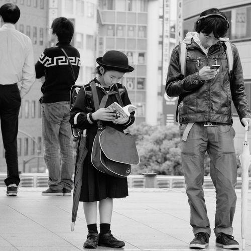 Snapshots Of Life People Snapshot City Life Streetphotography_bw B&w Street Photography Platform Train Station Wating Kichijoji 吉祥寺 , Tokyo Japan