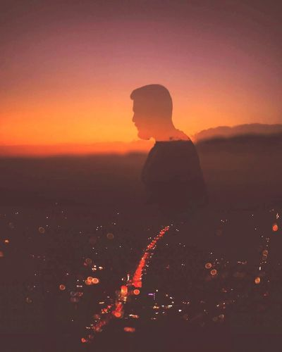 Sunset Silhouette Orange Color Landscape Outdoors One Person Travel Destinations Sky Scenics Night Nature Beauty In Nature People Desert Adult Astronomy Double Exposure Shadow Travel Photography TravelSrilanka Traveller Sri Lanka Me Men Photo