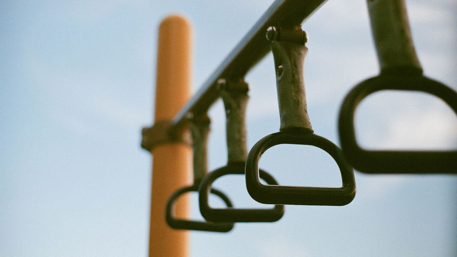 Metal Focus On Foreground No People Close-up Selective Focus Sky Low Angle View Day Nature Hanging Outdoors Security Design Safety Clear Sky Still Life Iron - Metal Protection Shape
