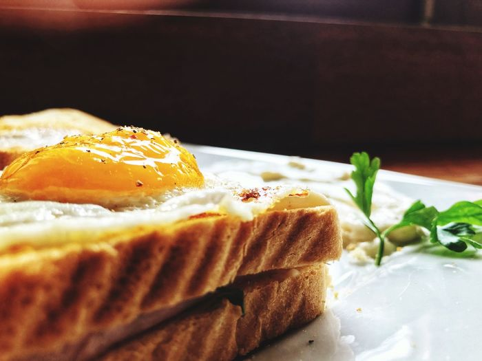 Croque Madame Croque !! French Kitchen French Food Croque Madame Food And Drink Food Freshness Plate Ready-to-eat Baked Bread