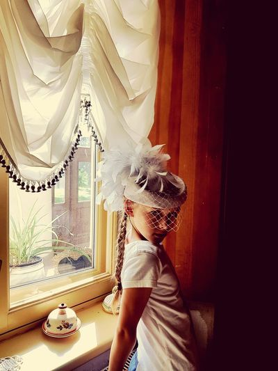 Vintage Girl Vintage Photo Old-fashioned Girl In White Curtain Window Beauty Rethink Things Be. Ready.