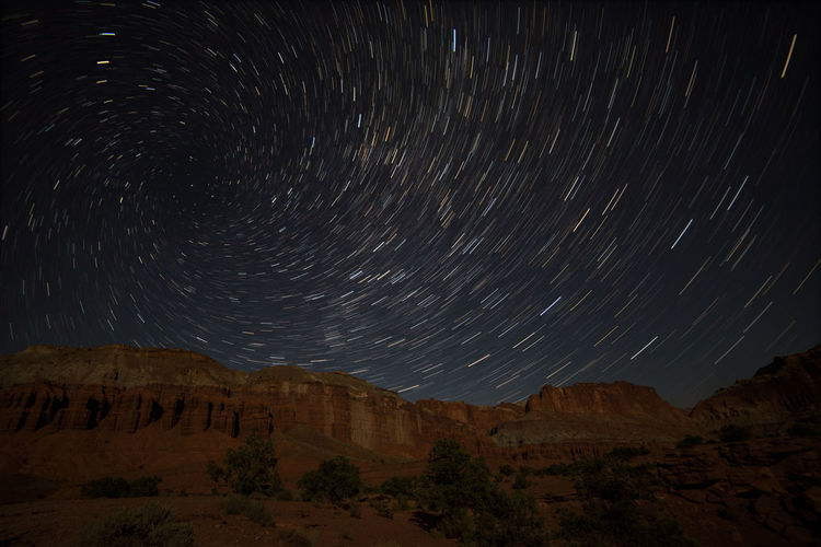 Astronomy Landscape Nature Night No People Outdoors Sky Space And Astronomy Star - Space Star Trail