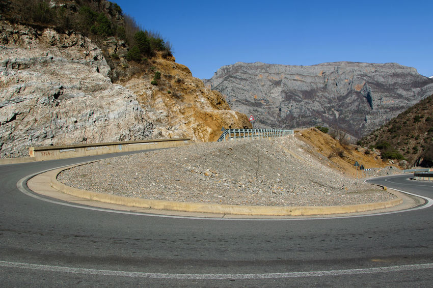 360 Degree Albania Asphalt Beauty In Nature Clear Sky Curve Curvy Road Day Highway Mountain Mountains Nature No People Outdoors Physical Geography Road Rock - Object Sky Transportation Winding Road