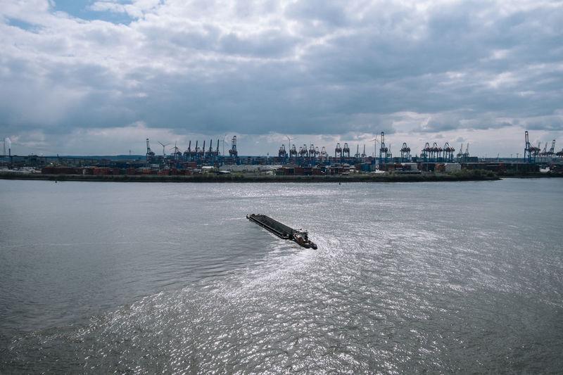 Hamburg City Cloud - Sky Day Dockland Hamburg Hamburg Harbour Mode Of Transport Nature Nautical Vessel No People Outdoors Sea Sky Transportation Wake - Water Water Waterfront