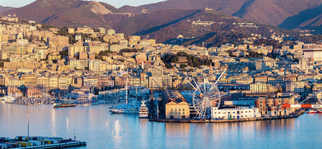 Genova harbour, Liguria, Italy Architecture Building Exterior Water City Built Structure Nautical Vessel Building Nature Waterfront Cityscape Travel Destinations Day Travel Outdoors Sailboat Transportation Port Harbor Harbour Genova Genoa Italy Orange Color Panorama Panoramic