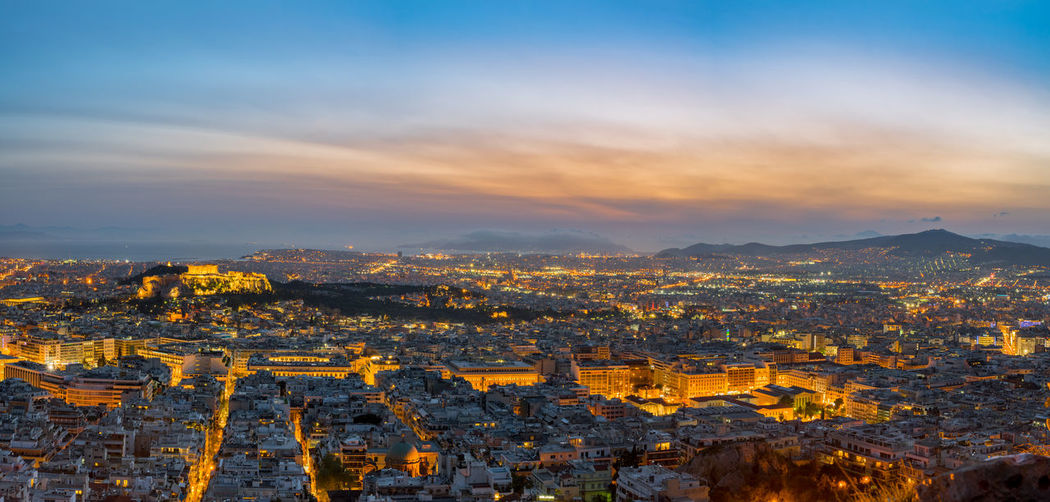 HDR Panorama, sunset view on Athens, Greece Athens, Greece Europe Trip Acropolis Aerial View Architecture Athens Beauty In Nature Building Building Exterior Built Structure Cityscape Cloud - Sky Environment Greece Landscape Nature No People Orange Color Outdoors Scenics - Nature Sky Sunset Travel Destinations Urban Skyline