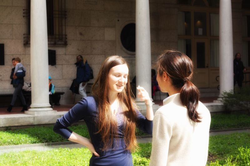The Conversation 1 ... Viorica and Tara at Boston Library Beautiful Woman Conversation