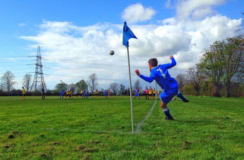Carefully Done Burwell Swifts Cambridgeshire Cloud - Sky Corner Kick Field Football Grassy Landscape Leisure Activity Non League Non-league Playing Sport EyeEm Best Shots