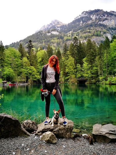 Water Mountain Lake Outdoors Nature Blausee Swiss Alps Switzerland One Person Day Tree Motion Switzerlandwonderland Leisure Activity Full Length People Adventure Lifestyles