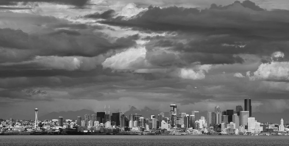 Ominous Skies Postcard Black & White Olympus Ominous Puget Sound Skyline USA Washington Architecture Black And White Blackandwhite Cloud - Sky Clouds Downtown Seattle Landscape Sea Sky Skyscraper Urban Skyline Waterfront The Great Outdoors - 2018 EyeEm Awards