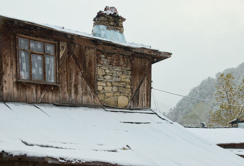 Village Snow Architecture Building Exterior Built Structure Chimney Cold Temperature Low Angle View Outdoors Roof Sky Snow Snowy Sünnetköy Turkey Village Village Life Village View Window Window View Winter Wintertime Wood Material