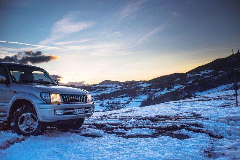Snow Winter Cold Temperature Sky Car Nature No People Transportation Blue Tranquility Outdoors Scenics Sunset Beauty In Nature Landscape Day Go Higher Go Higher