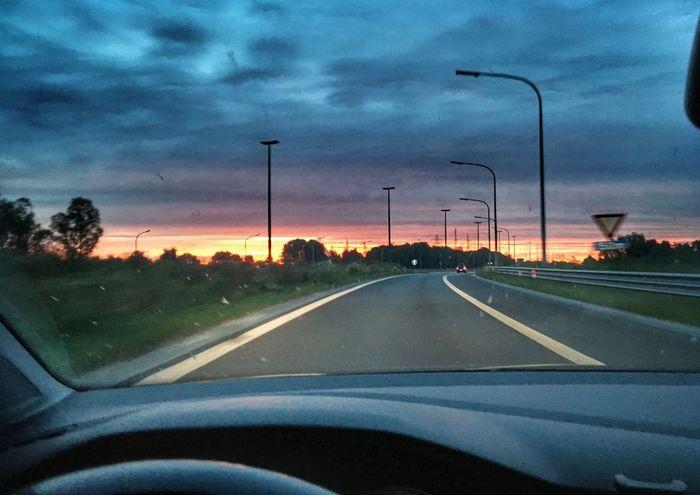 Go To Work 5am Sunrise Car Road Cloud - Sky Sky Sunrise Mix Yourself A Good Time