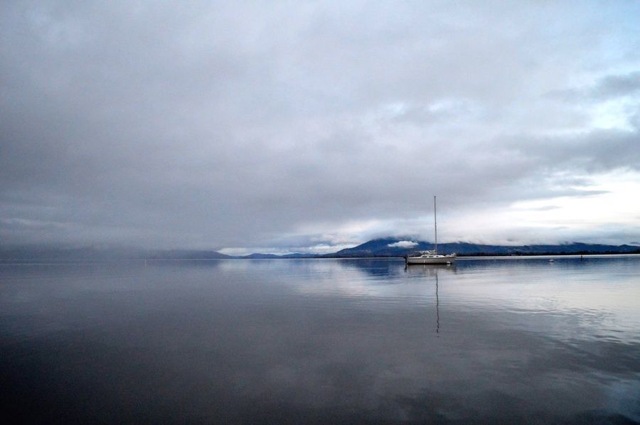 Reflecting in the mist Mist Fog Lake Water Sea Cloud - Sky Sky Nautical Vessel Tranquil Scene Tranquility Nature Waterfront Reflection Storm Cloud No People Horizon Over Water Outdoors Beauty In Nature Scenics Transportation First Eyeem Photo