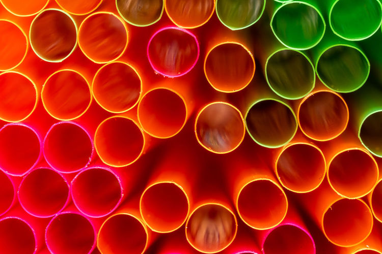 Full frame shot of multi colored straws