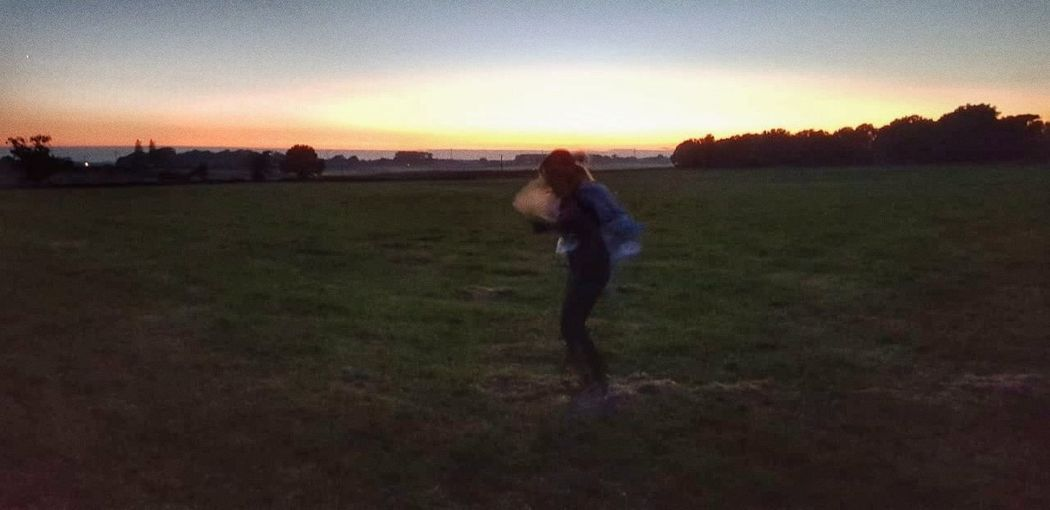 Sunset Rural Scene Full Length Field Agriculture Warm Clothing Sky Grass Landscape
