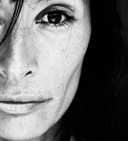 C//B// Person Headshot Focus On Foreground Human Eye Human Face Human Skin Lifestyles Creativity Facial Expression Long Hair No Love Solitude Empty Hurts Black And White Front View