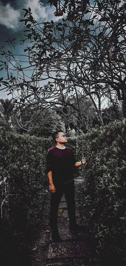 Full length of young man standing against trees in forest