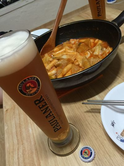 Enjoying Life Hi! Korea Food Tteokbokki Beer Paulaner  Beer Time