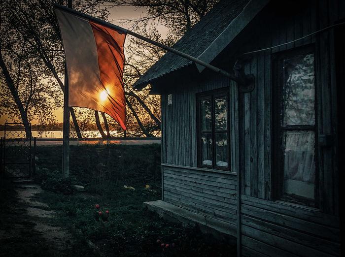 Tomorrow will be Flag Day in Poland... House Sunset Landscape EyeEm Best Shots EyeEm Best Edits Light Window Sky Architecture National Flag Building Historic Settlement