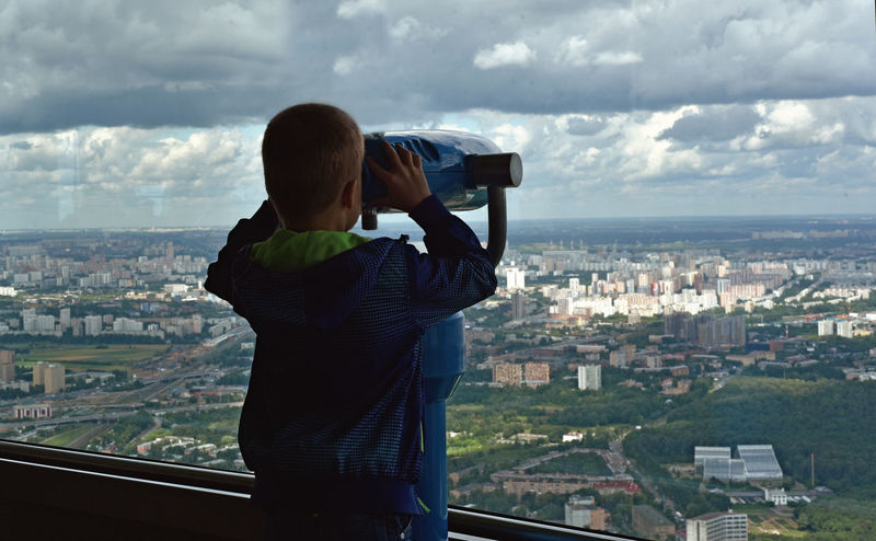Osnanc Ostankino Television Tower Ostankinotvtower Architecture Binoculars Building Building Exterior Built Structure City Cityscape Cloud - Sky Crowded Looking At View One Person Outdoors Rear View Sky Standing Technology