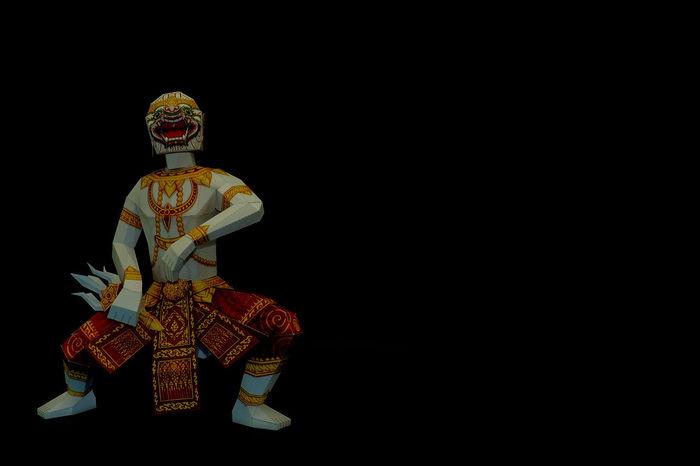 "Ramakien ""Glory of Rama"" is Thailand's national epic, derived from the Hindu epic Ramayana. Backgrounds Black Background Clever Dacing Decor Flighting Glory Of Rama Hanuman Hindu Epic Immortal Khon Monkey Warrior Moon No People Ramadan  Show Studio Shot Sun Thai Epic The Apes Theathre Theravada Buddhist Thotsakan Wat Phra Kaew"
