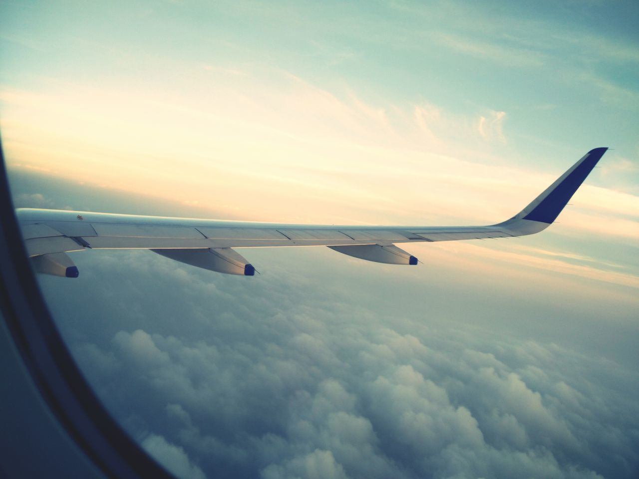 airplane, sky, cloud - sky, transportation, air vehicle, flying, journey, mode of transport, travel, aircraft wing, mid-air, no people, outdoors, nature, day, jet engine, airplane wing, sunset, commercial airplane, beauty in nature