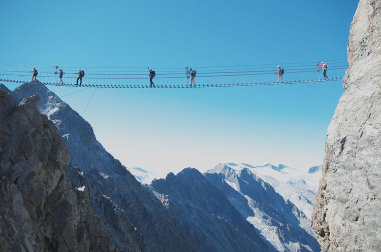 "The suspended walkway in the via ferrata ""Sentiero dei Fiori"". ADAMELLO-PRESANELLA ALPS, ITALY Adrenaline Climber Ponte Di Legno Summer Road Tripping The Great Outdoors - 2018 EyeEm Awards The Traveler - 2018 EyeEm Awards Adamello Adamello Brenta Alpinism Alps Castellaccio Ferrata  Hiking Adventures Mountain Range Mountains Outdoors Scenics - Nature Sentiero Dei Fiori Summer Sports Suspended Bridge Suspended In The Air Suspended Walkway Tonale Vertigo Via Ferrata"
