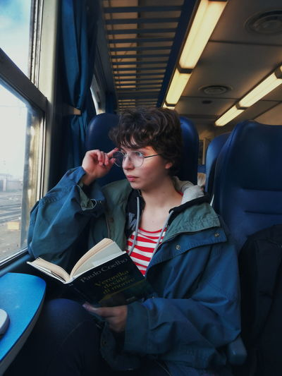 Portrait StrangerThings Colors Vintage Train Sitting City Women Young Women Thoughtful Denim Jacket Thinking Pretty