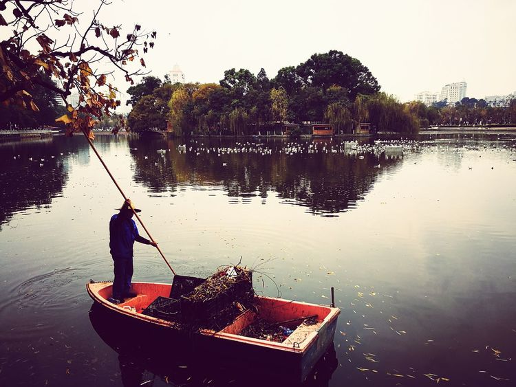 Chilling Autumn EyeEmNewHere Leeves Boat Chilling Job Water Men Floating On Water Occupation