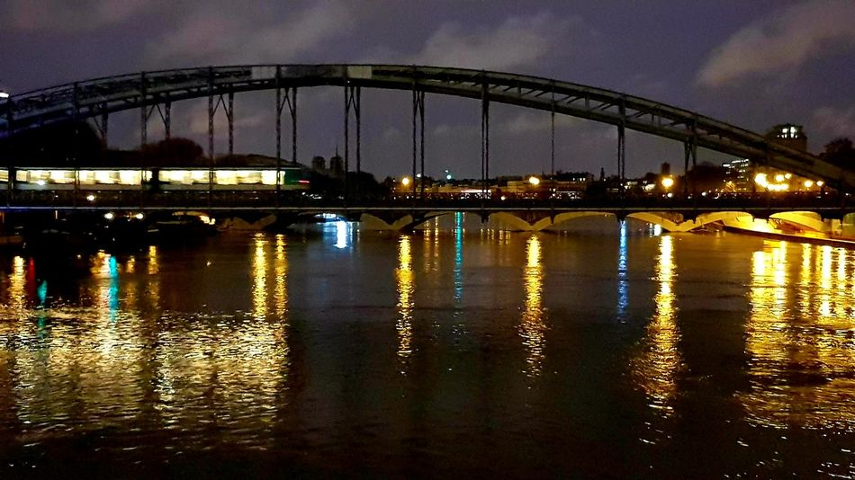 Paris ❤ Subway Cloud - Sky Clouds Seine River Lights Colors Bridge - Man Made Structure Reflection Connection Water Sky River Architecture Built Structure No People Night Illuminated Outdoors City
