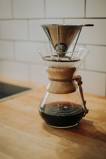 Indoors  Food And Drink No People Kitchen Coffee - Drink Coffee Coffee Maker Focus On Foreground Dripping Chemex Style Coffee Coffee Time Home