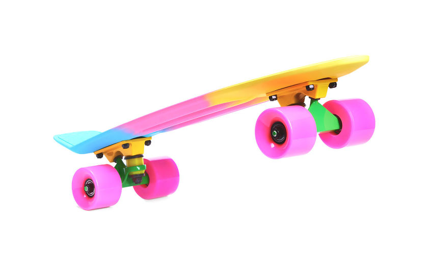 High angle view of toy against pink background