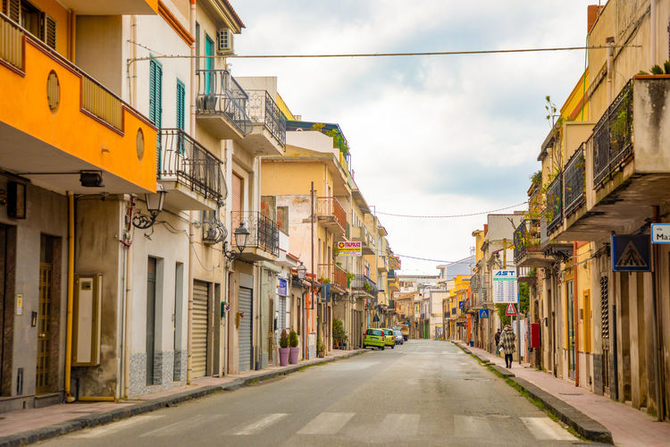 Italy Sicily Building Exterior Architecture Built Structure The Way Forward City Direction Building Street Sky Cloud - Sky Transportation Residential District Road Day Diminishing Perspective Nature No People Outdoors House Empty Alley Long