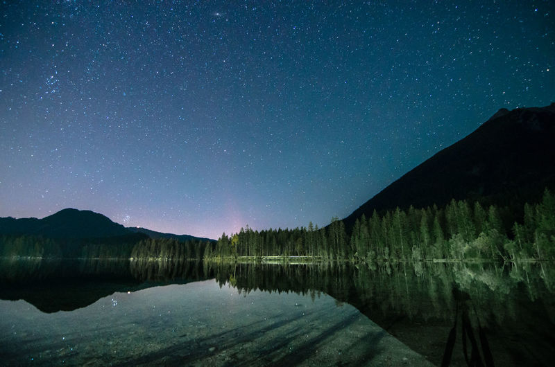 Scenic view of lake against sky at night