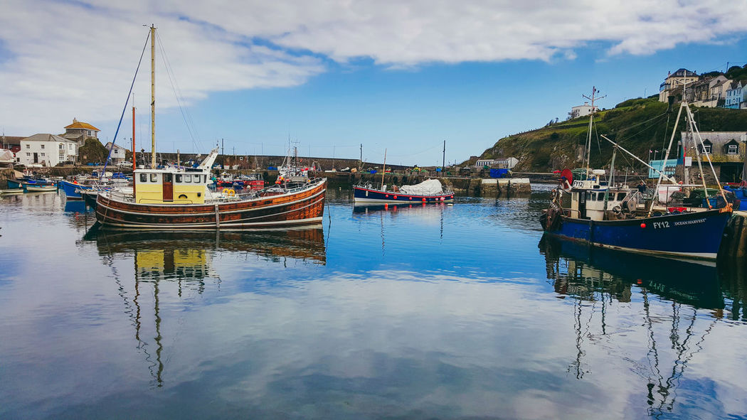 Water Reflection Cloud - Sky Harbour Sea Blue Colour Mevagissey Cornwall Boats Nautical Fishing Boat First Eyeem Photo