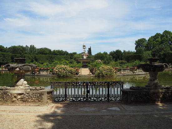 pond in th boboli gardens from palazzo pitta Architecture Boboli Garden Cloud - Sky Day Human Representation Nature No People Outdoors Pond Religion Sculpture Sky Statue Tree Water
