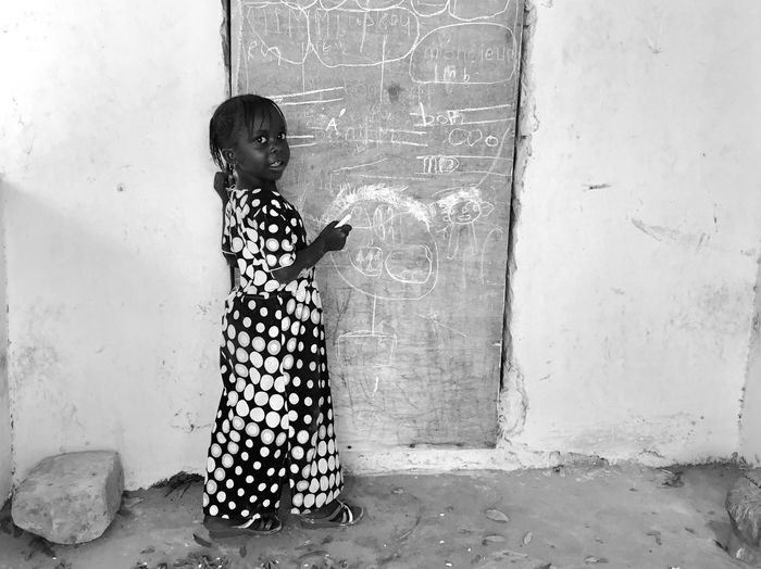 School is cool ! Girl African Lifestyle Senegal Game School Childhood Child Real People Full Length