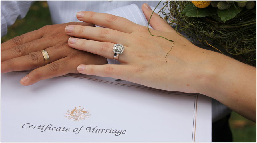 Cropped Hands Of Wedding Couple With Marriage Certificate