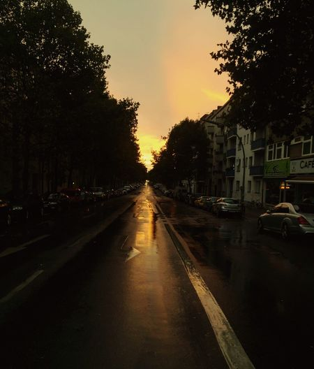 Wet road amidst trees against sky during sunset