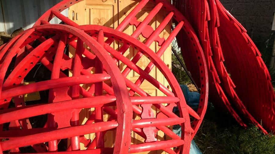 Close-up Day Frame No People Old-fashioned Outdoors Red Red Watermill Wheel Wood - Material Wooden Frame Yurt