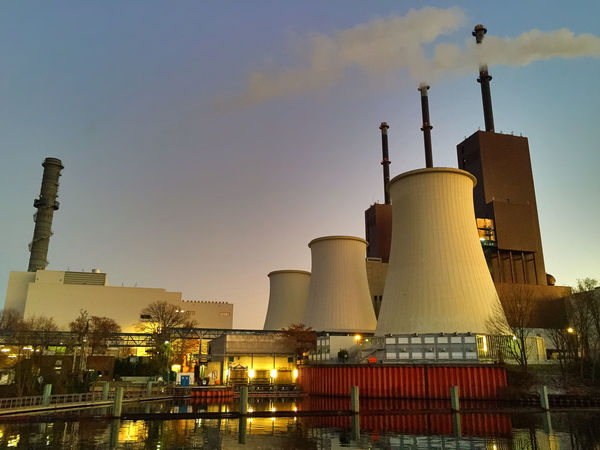 electrical generating station Chimney Cooling Tower Cooling Towers Electrical Generating Station Generating Plant Generating Station Industrial Industry No People Outdoors Power Plant Power Station Powerhouse Sky Teltow Teltow Kanal Teltowkanal Water Water Channel