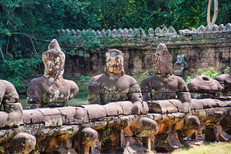 Preah khan temple site among the ancient ruins of angkor wat hindu temple complex in cambodia