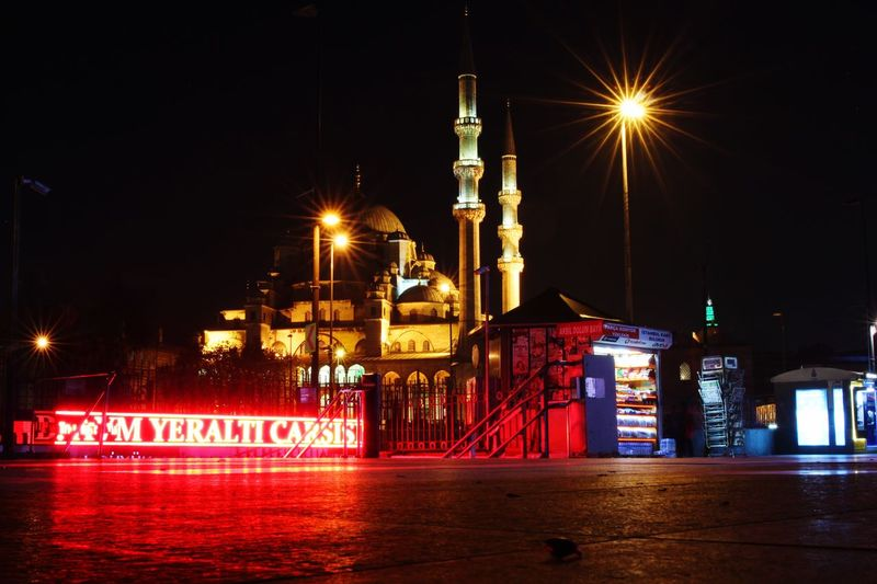 Night Illuminated Architecture City Travel Communication Travel Destinations Outdoors Building Exterior No People Sky Nightlife Lights Mosque Streetphotography Street Islamic Architecture