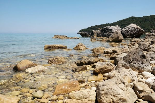 Mediterranean Sea Beach Beauty In Nature Blue Sea And Blue Sky Clear Sky Day Geology Horizon Over Water Nature No People Outdoors Pebble Beach Rock - Object Scenics Sea Sky Stunning Nature Tranquil Scene Tranquility Water Perspectives On Nature