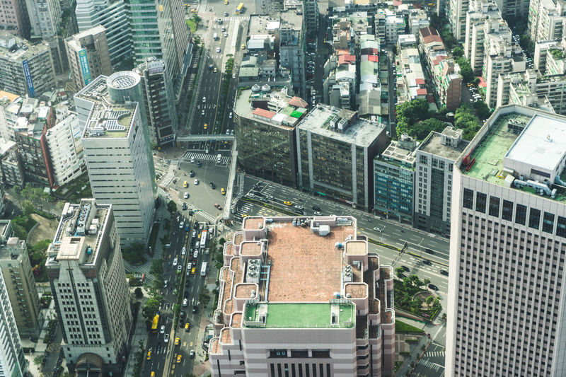 Architecture Building Exterior Built Structure Cars City Cityscape Day High Angle View Outdoors Taipei 101 Top View Traffic