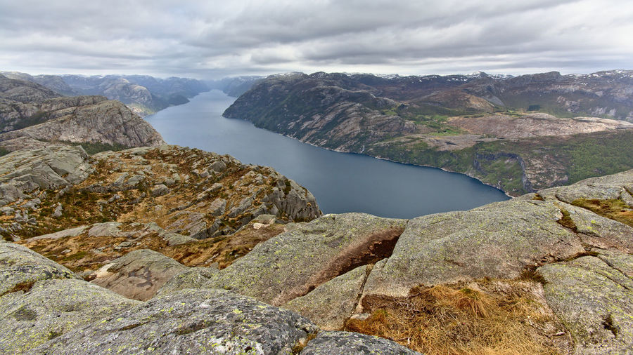 Lyesfjorden landscape, Norway Hiking Lysefjord Norway Rock Scandinavia Stavanger Tree Wanderlust Beauty In Nature Fjord Geology Granite Landscape Mountain Mountains Nature Scenics Sky Tranquil Scene Tranquility Water